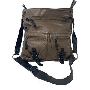 Tano leather messenger crossbody bag